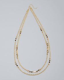 Double-Row Oval-Link & Stone Necklace
