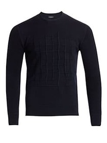Z Zegna French Terry Embroidered Sweater NAVY