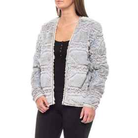 Boundless North Embossed Fur Jacket - Open Front (