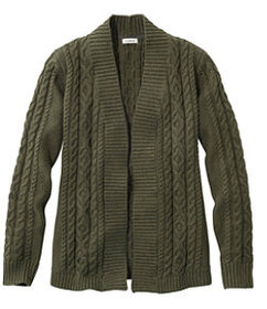 LL Bean Double L Cotton Sweater, Open Cardigan