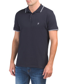 FRENCH CONNECTION Logo Stretch Tipped Polo