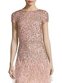 Alice + Olivia Kelli Sequined Crop Top ROSE GOLD