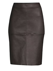 Weekend Max Mara Salima Leather Pencil Skirt COFFE
