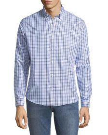 Neiman Marcus Slim-Fit Wear-It-Out Checkered Sport