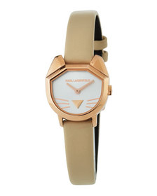 Karl Lagerfeld 26mm Camille Cat Watch w/ Leather S