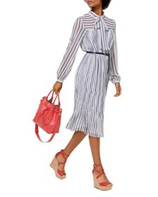 MICHAEL Michael Kors - Striped Neck-Sash Midi Dres