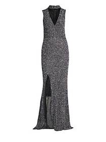 Alice + Olivia Arial Sequined Gown SILVER