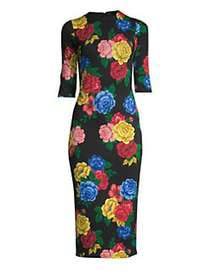 Alice + Olivia Delora Floral Fitted Dress BLACK MU