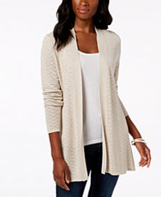 Charter Club Pointelle Ribbed-Knit Cardigan, Creat