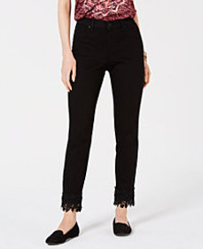 Style & Co Lace-Cuff Curvy Skinny Jeans, Created f