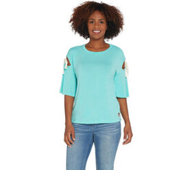 Peace Love World 3/4 Sleeve Top w/ Sleeve Ties and