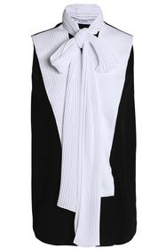 GIVENCHY Pussy-bow pleated crepe top