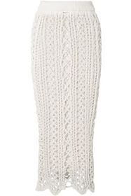 BALMAIN Scalloped cotton-blend macramé midi skirt