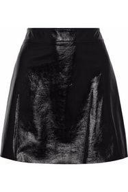 THEORY Crinkled patent-leather mini skirt