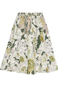 ETRO Flared foral-print cotton, silk and linen-ble