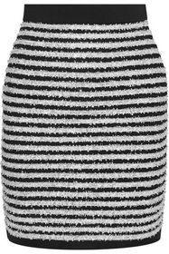 BALMAIN Striped Tinsel and stretch-knit mini skirt