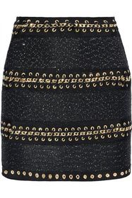 BALMAIN Chain-trimmed sequin-embellished stretch-k