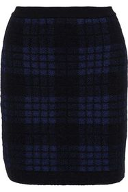 BALMAIN Checked jacquard-knit mini skirt