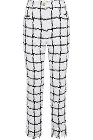 BALMAIN Checked bouclé-tweed straight-leg pants