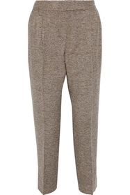 MAX MARA Ginosa marled wool-blend twill tapered pa