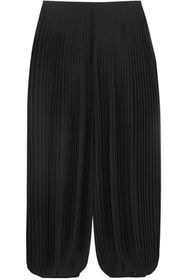 CHLOÉ Cropped pleated georgette wide-leg pants