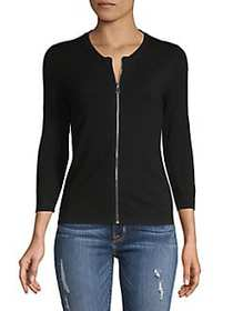 Context Classic Ribbed Cardigan BLACK