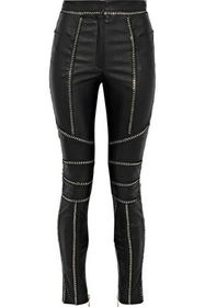 BALMAIN Chain-trimmed leather skinny pants