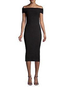Eliza J Off-The-Shoulder Midi Sheath Dress BLACK