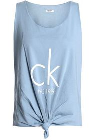 CALVIN KLEIN Knotted printed cotton-blend jersey t