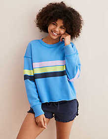 American Eagle Aerie Striped Pullover Sweatshirt