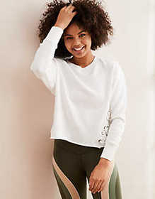 American Eagle Aerie Lace-Up Pullover Sweatshirt