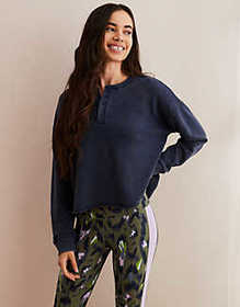 American Eagle Aerie Henley Pullover Sweatshirt