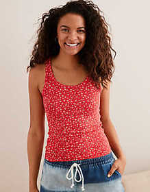 American Eagle Aerie Ribbed Floral Tank