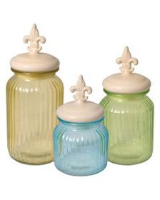 Pfaltzgraff Set of 3 Glass Canisters with Ceramic
