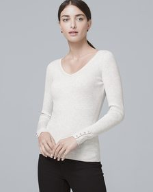 Button-Detail V-Neck Sweater