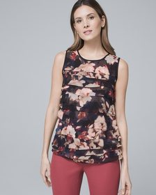 Floral-Print Tiered Shell