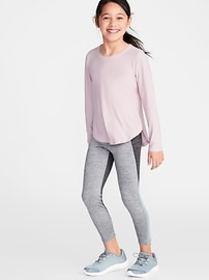 Go-Dry Color-Blocked Mesh-Trim 7/8-Length Leggings