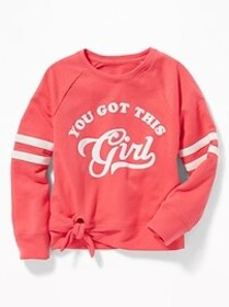 Graphic French Terry Side-Tie Sweatshirt for Girls