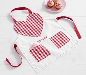 Pottery Barn Gingham Heart Apron