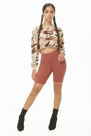 Forever21 Camo Leopard Print Cropped Sweatshirt