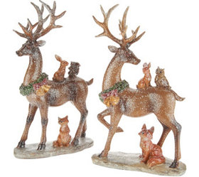"""As Is"" S/2 Glistening Deer with Woodland Animals"