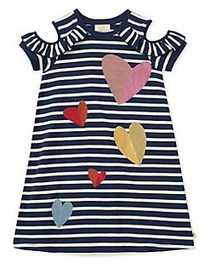Kate Spade New York Girl's Tossed Hearts Striped D