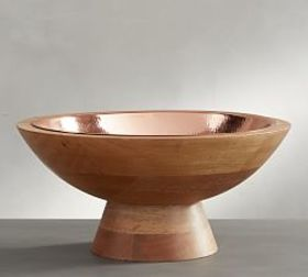 Pottery Barn Copper and Wood Fruit Bowl