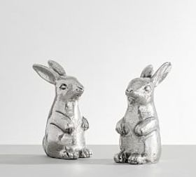 Pottery Barn Silver Bunny Salt & Pepper Shakers