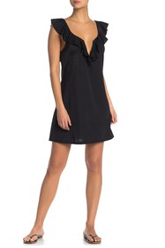 Tahari Ruffle V-Wire Solid Cover-Up Dress