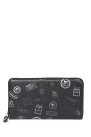 BALLY Zip Around Printed Pebble Leather Wallet