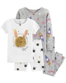 carters Baby Girl 4-Piece Space Bunny Snug Fit Cot