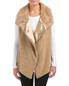 LEATHER & SUEDE Sleeveless Open Front Faux Fur Ves