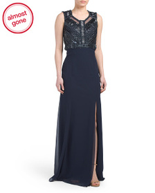 BASIX BLACK LABEL Beaded Top Long Gown