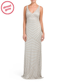 LOTUS THREADS Hand Beaded V Neck Gown